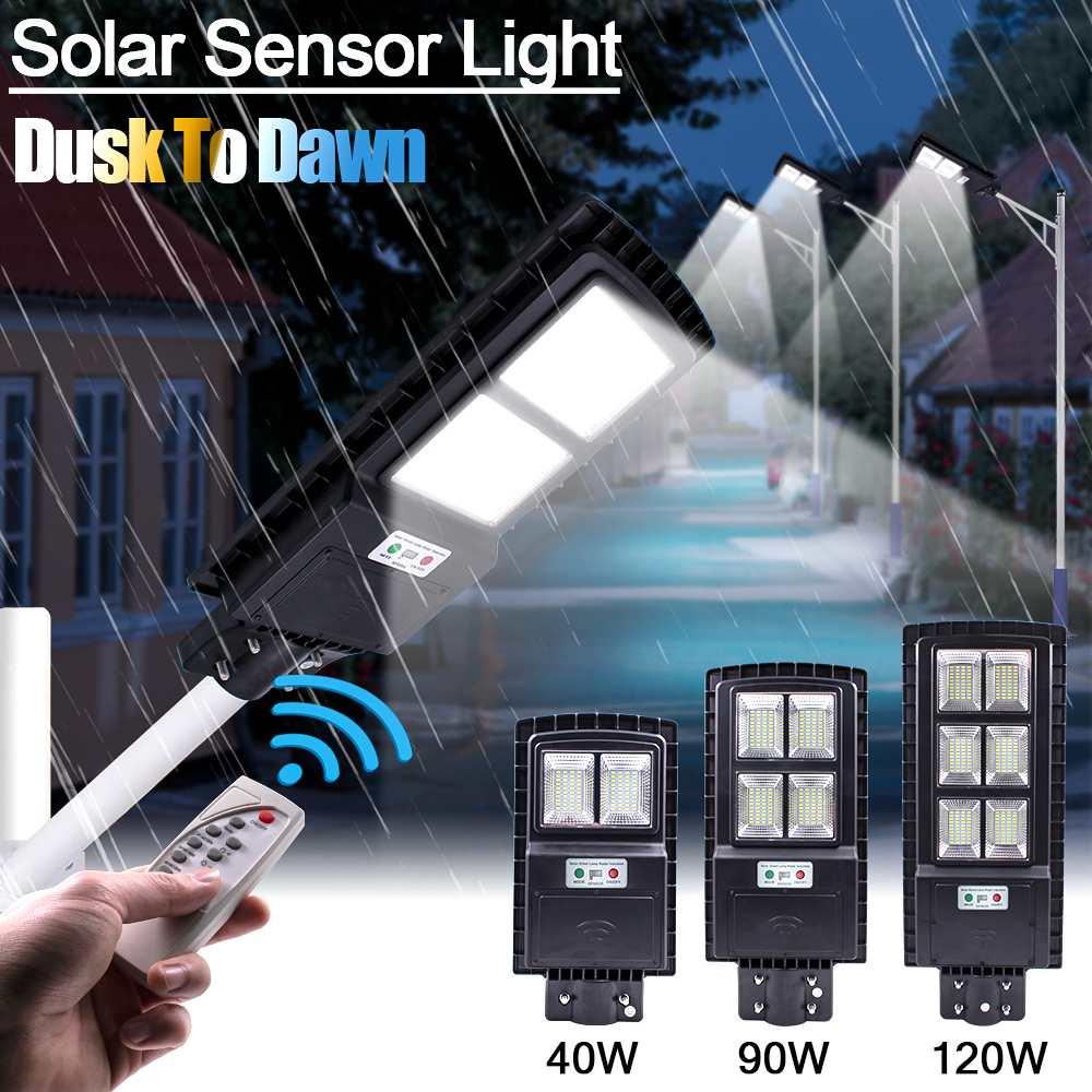 Date 40/90/120 W LED solaire lampe murale réverbère télécommande Radar Motion Timing étanche pour jardin extérieur cour rue