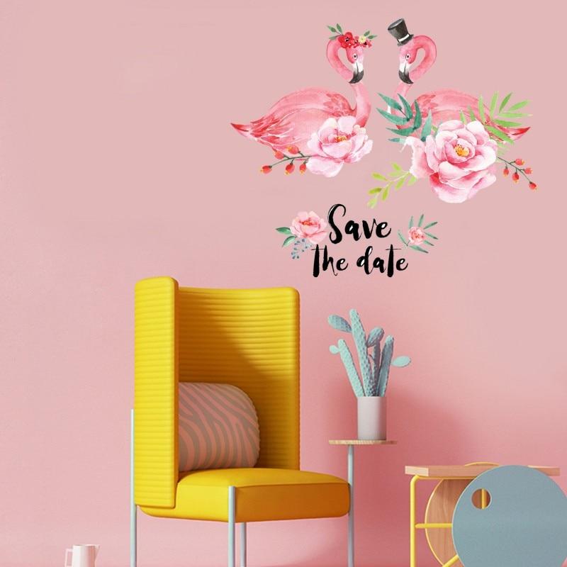 New Pink Romantic Flamingo Wall Stickers Home Decor Living Room Green Life Wall Art DIY Modern Wall Decals Living Room Bedroom