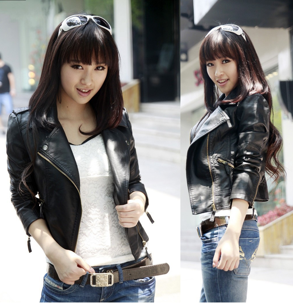 Spring Clothes Pattern Korean Lapel Pu Clothing Will Code Locomotive Woman Loose Coat   Leather   Jacket Women