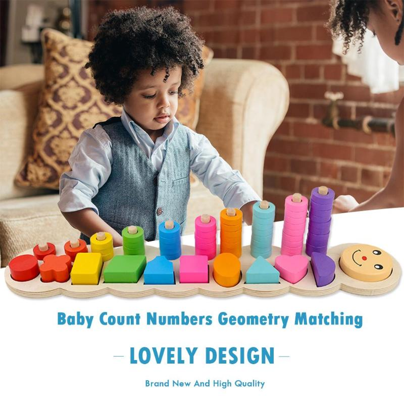 Home Wooden Baby Montessori Count Numbers Geometry Matching Montessori Early Educational Development Toys New Children Christmas Gift
