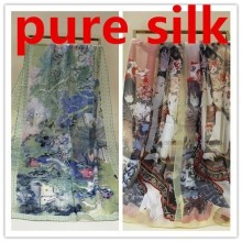 #s135 pure 100% silk scarf GEORGETTE color:AS PICTURES,50*160cm women summer spring shawls