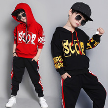 Boys clothes spring and autumn new 2019 baby casual loose hooded sweater + pants suit fashion long-sleeved children's clothing цена