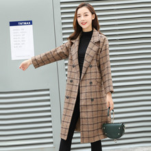 Winter Coat Women Plaid Woolen Plus Velvet Thick Wool Blends Outwear
