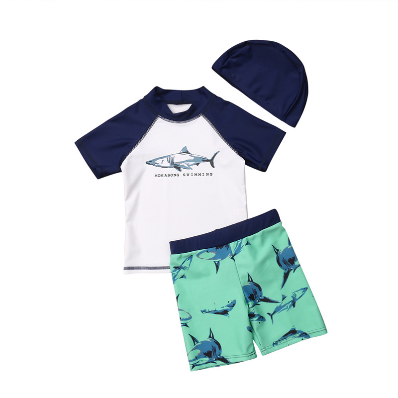 Baby Kids Boy Shark Swimsuit Sunscreen Swimming Surfing Bathing Suit Clothes Summer Cute Patchwork Holiday Beach Swimsuits