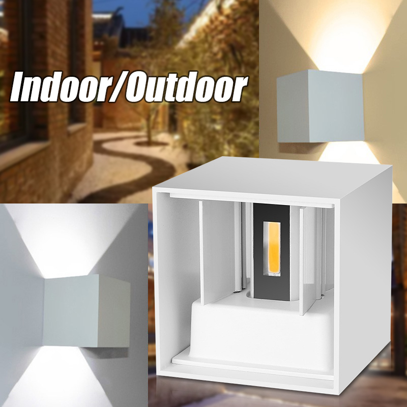 220V 7W Waterproof Aluminum Cube COB LED Wall Lamp Light Modern Home Lighting Indoor Outdoor Decoration Up and Down Wall Mounted
