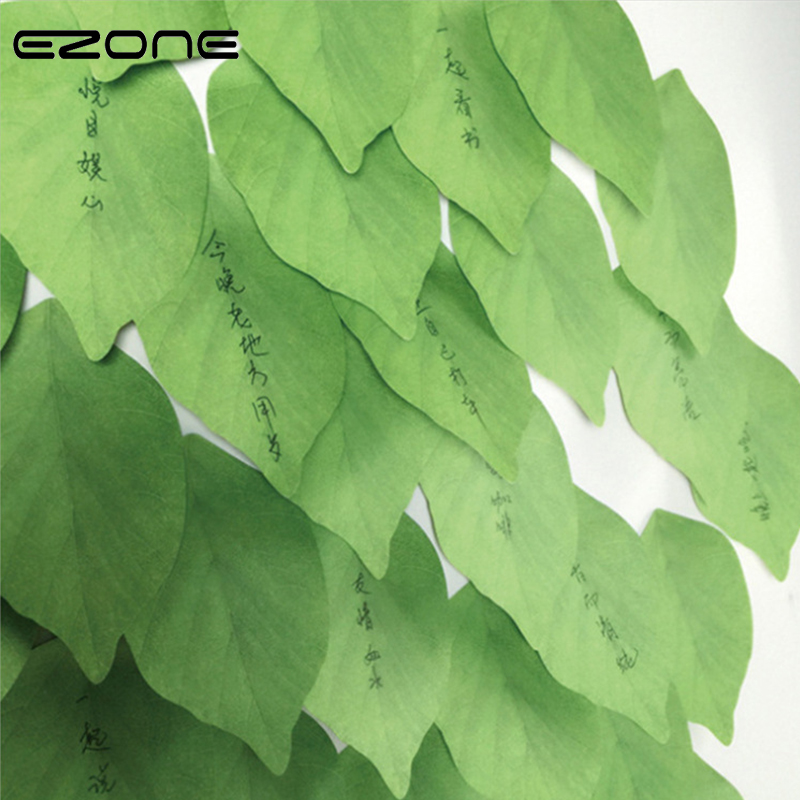 EZONE Self-adhesive Sticky Notes Simulation Green Leaves Sticky Notes 50 Sheets Office Decor Sticker Message Card Memo Pad