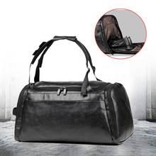 Wielofunkcyjny skórzany mężczyźni kobiety bagaż torba podróżna o dużej pojemności Duffle torba tornister na ramię siłownia sport torebka Mochila Bolso tanie tanio Aequeen Na co dzień zipper Stałe Podróż torba Miękkie Black Travel Backpack Unisex Pack Bag PU Leather Wszechstronny