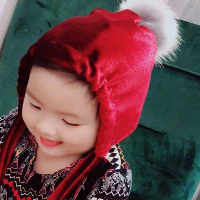 Children Boys Girls Velvet Lace up Faux Fur Pompom Hat Baby Cute   Skullies     Beanies   Winter Autumn Warm Hat
