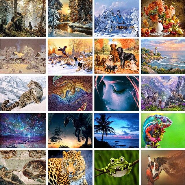 20 del modello di Casa di Carattere Animale di Paesaggio 5D Pittura Croce di Dia