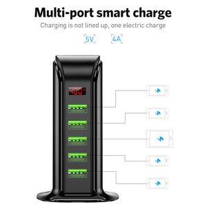 Image 3 - 5 Port Multi USB Charger HUB LED Display USB Charging Station Dock Universal Mobile Phone Desktop Wall Home Chargers EU UK Plug