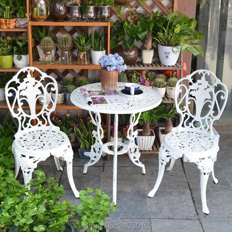3 Piece White Bistro Patio Set Table