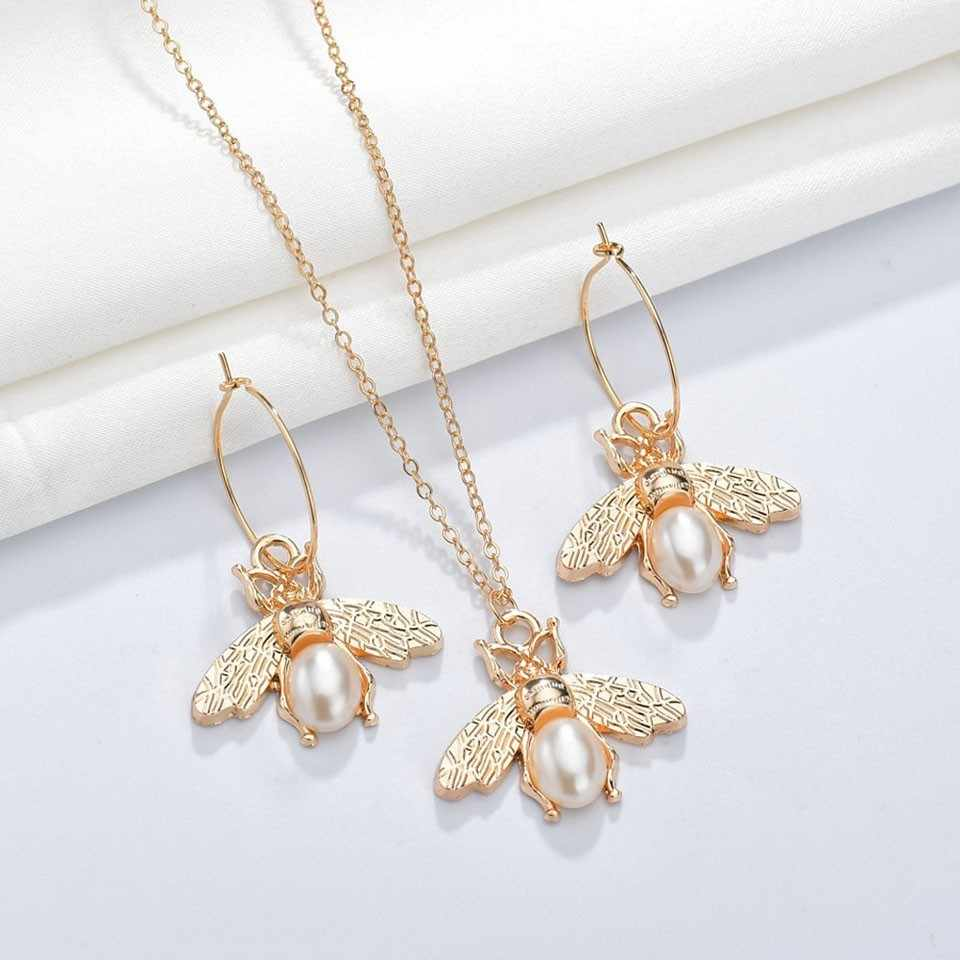 3PCS Women Trendy Earrings&Necklace Sets Bee Animal With Pearl Female Jewelry Women Wedding Jewelry Gold Chain Jewelry Sets