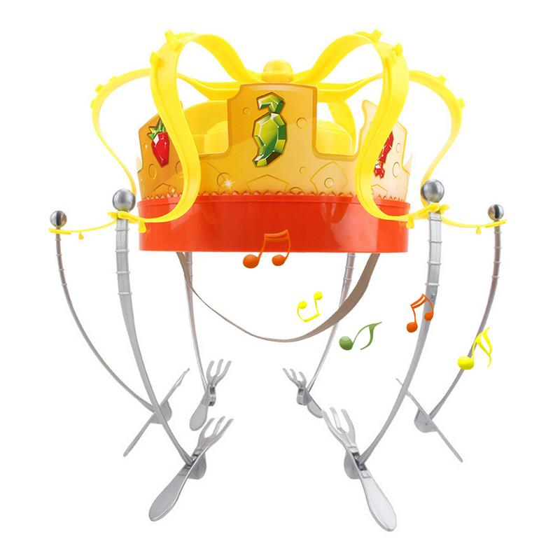 Rotating Electric Food Crown Hat Funny Party Toy Spoof Food Crown With Six Fork Novelty Spoof Party Toy Eating Game With Friends