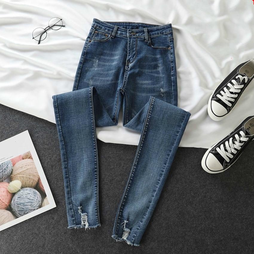 Spring Summer High Waist Skinny Pencil Denim Pants Women Female Boyfriend Jeans For Women Solid Stretch