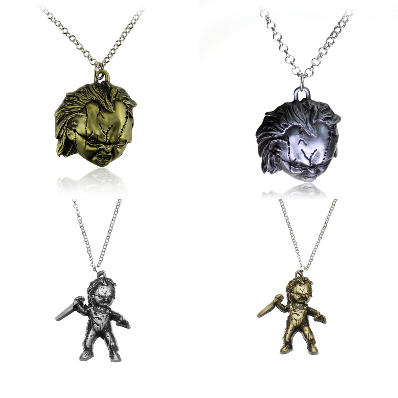 Horror Thriller Movie Curse Of Chuck Seed Of Chucky Pendant Necklace Silver Plated Gothic Metal Statement Necklace Jewelry Gift image
