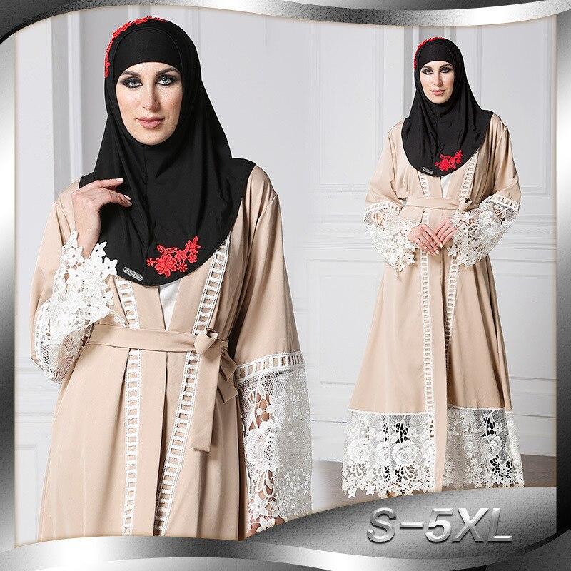 Mode costume Robe Cardigan Robe brodée moyen-orient Longuette a-ligne automne robes 2018 S M L XL XXL XXXL 4XL 5XL