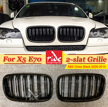 купить E70 Front Grille ABS Gloss Black M-Style For X5 E70 X5M Double Slats Front Kidney Grille xDrive30i xDrive35i xDrive48i 2008-2014 дешево