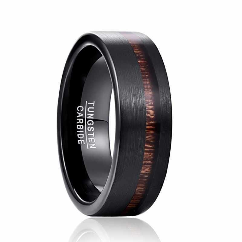 العصرية 2019 الزفاف الفرقة الأسود ماتي النقي كربيد التنغستن خاتم الخطوبة للرجال أكاسيا الخشب خواتم رجالي المجوهرات هدية