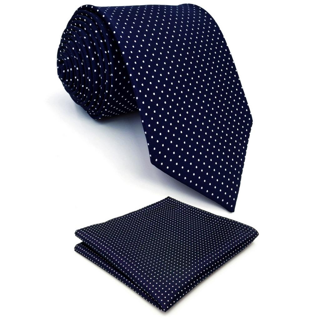 Blue Polka Dots Mens Neckties Dress Classic Pocket Square Set Gift Extra Long Size Party