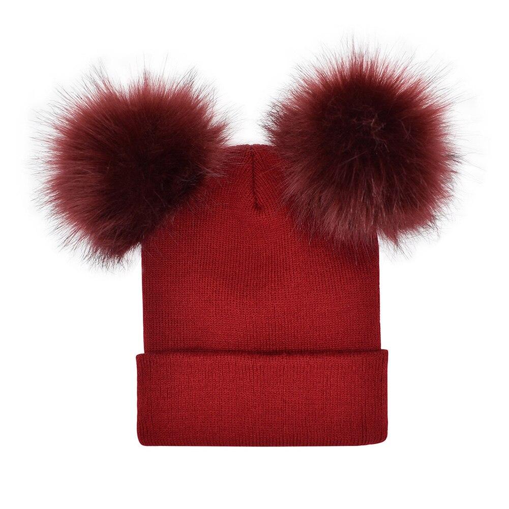 Fashion Women Faux Fur   Skullies     Beanies   Pompom Winter Warm Cap Knitted   Beanie   Girl Double Ball Hats Wool Female Outwear New Hats