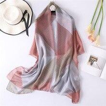 2019 Women's Silk Scarf New Soft Printed Scarves Large Shawls Wraps Long Ladies Pashmina Female Bandana Hijab Scarf Foulard