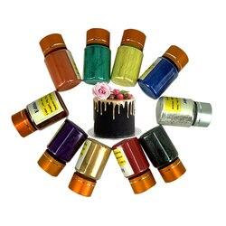 O fondant do bolo que coze o pigmento 10g do fondant da decoração do produto comestível da arte do pó do ouro da cor do alimento pela garrafa 8 cores disponíveis
