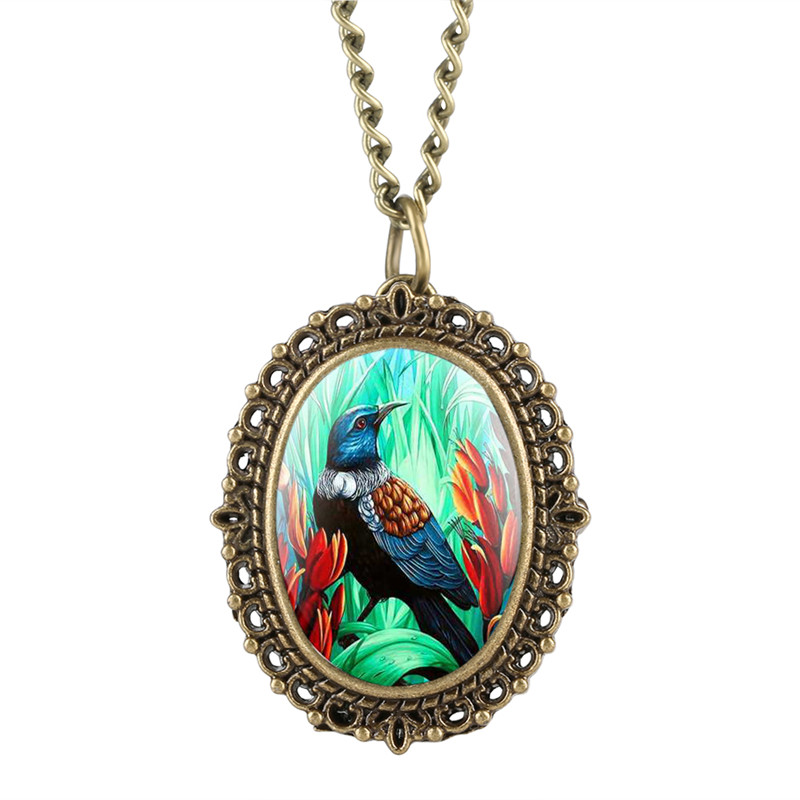 Vintage Lady Quartz Pocket Watch Analog Pendant Colorful Bird Pattern Oval Pocket Watches Alloy Small Dial Watch With Necklace