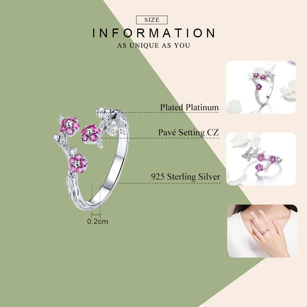 BAMOER 100% 925 סטרלינג כסף חורף פורח שזיף פרח פתוח גודל טבעות נשים חתונת אירוסין תכשיטי BSR022