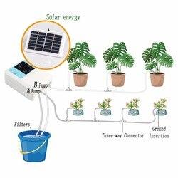 Atualizado carregamento de energia solar inteligente jardim automático rega dispositivo vaso planta irrigação por gotejamento sistema temporizador da bomba água