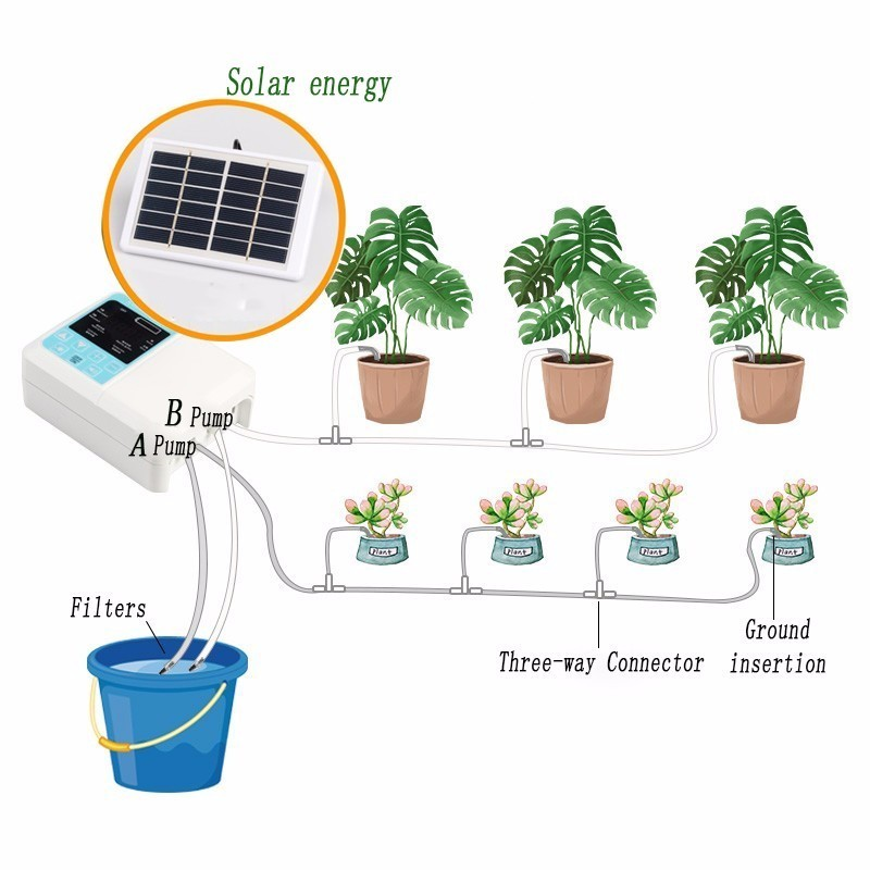 Upgraded Solar Energy Charging Intelligent Garden Automatic Watering Device Potted Plant Drip Irrigation Water Pump Timer System