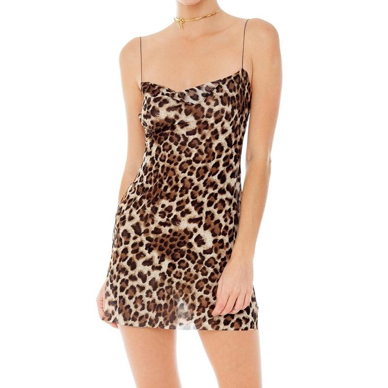 Leopard Print Summer Dress 2019 Spring Sexy Ultra-thin Backless Slit Korean Mesh Spahetti Strap Mini Women