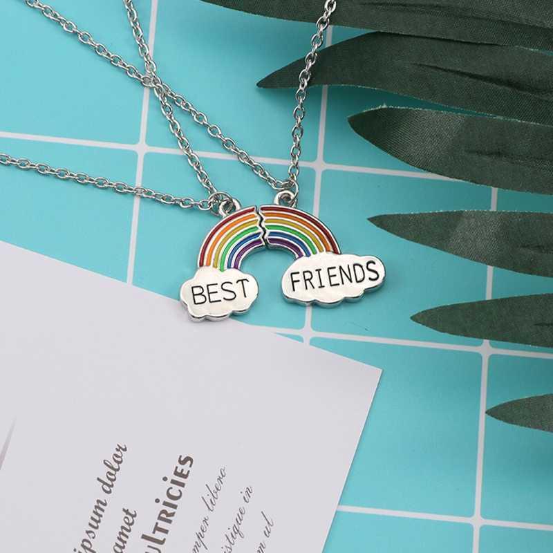 أفضل الأصدقاء قلادة زوج المينا لغز قوس قزح سحابة قلادة قلادة الصداقة Bff مجوهرات هدية ل قلادة المرأة