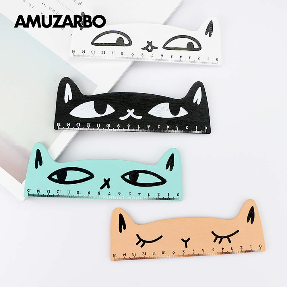 Funny Cat Ruler 15cm Wooden Straight Ruler For Drawing Straight Line Painting Student Office Stationery