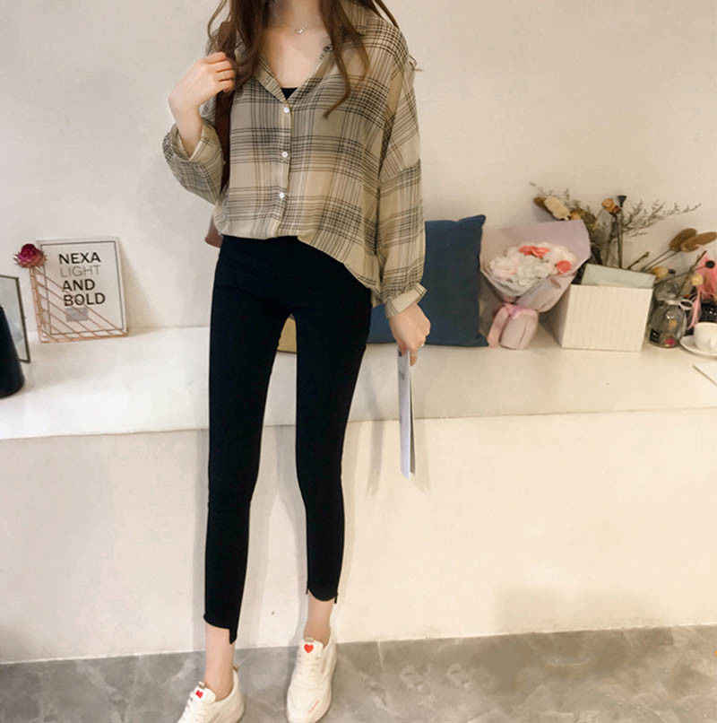 b4d2465e9a8 2019 Autumn Chic Plaid Shirts Women Batwing Sleeve Chiffon Blouses Casual  Chemise Femme Tops Plus Size