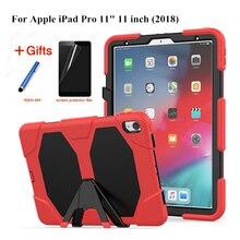 цены на For iPad Pro 11 2018 Cover Funda Model A1980 Kid Skin Military Heavy Duty Silicone+PC Rugged Stand case For New iPad Pro 11 inch  в интернет-магазинах
