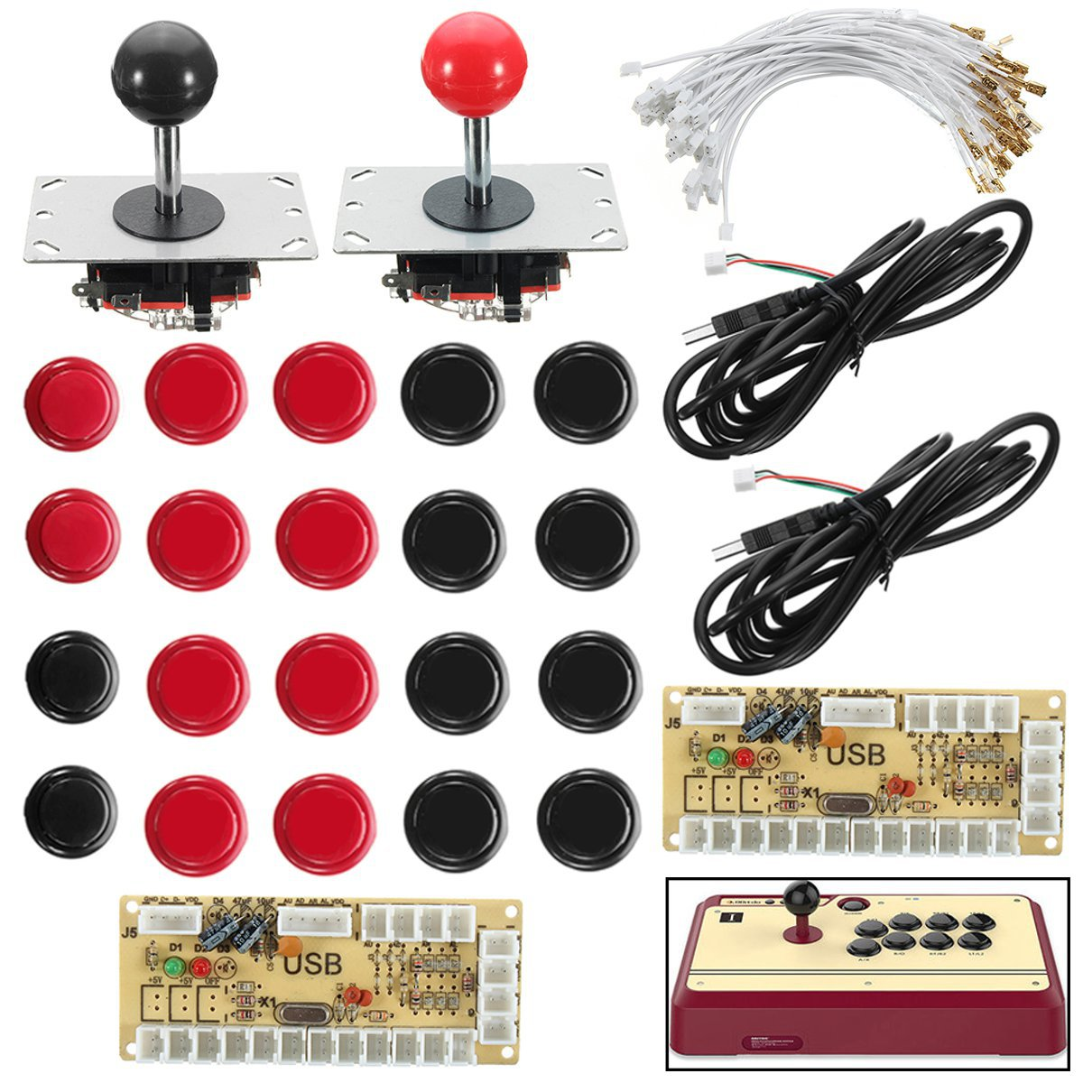2 Player Zeros Delay For Arcade Game Joystick DIY Kit 2 LED USB Encoder+2 Joystick+20 Push Buttons+28 Cables for Raspberry Pi