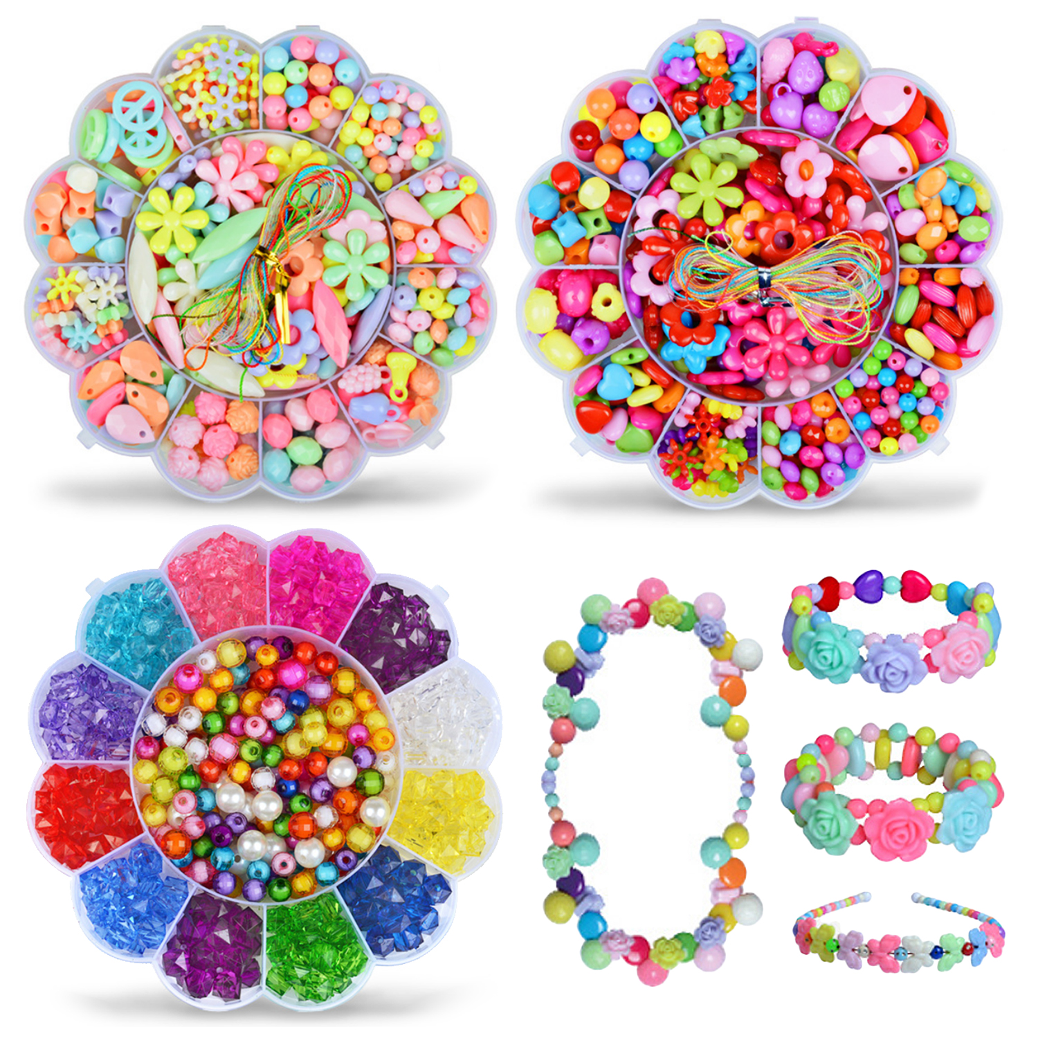 350x Kid Girls Plastic Candy Colors Round Flower Drop Shape Loose Beads With Rope Toy Bracelet Necklace Jewelry Making DIY Craft