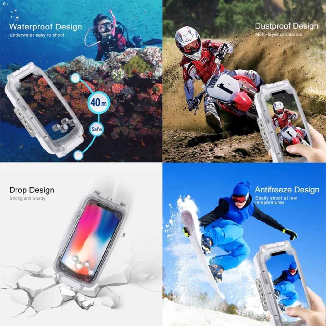 Unisex Fashion Waterproof Phone Case 360 Degree 40m Protection White, Black Phone Protective Cover Print