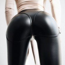 Women Sexy Black Pu Leather Leggings Front Zipper High Waist Push Up Faux Pants  Club Latex Rubber
