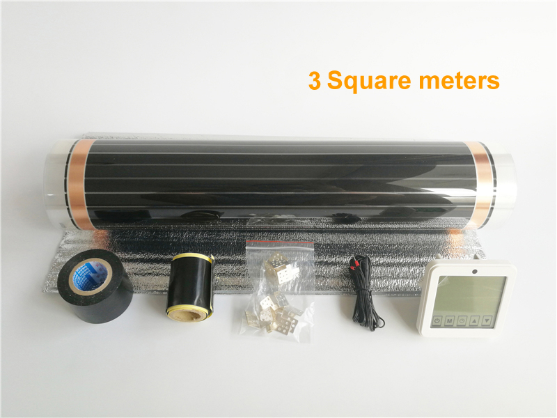 6 meters 50 centimeters - 3 square meters 50 cm*6 m infrared heating film with thermostat and clamps (8pcs) and insulating daub and black tap