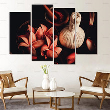 Canvas painting wall art decor Print Flower White Lotus In Black Wall Art Picture with Modern Wall Paintings Modular picture