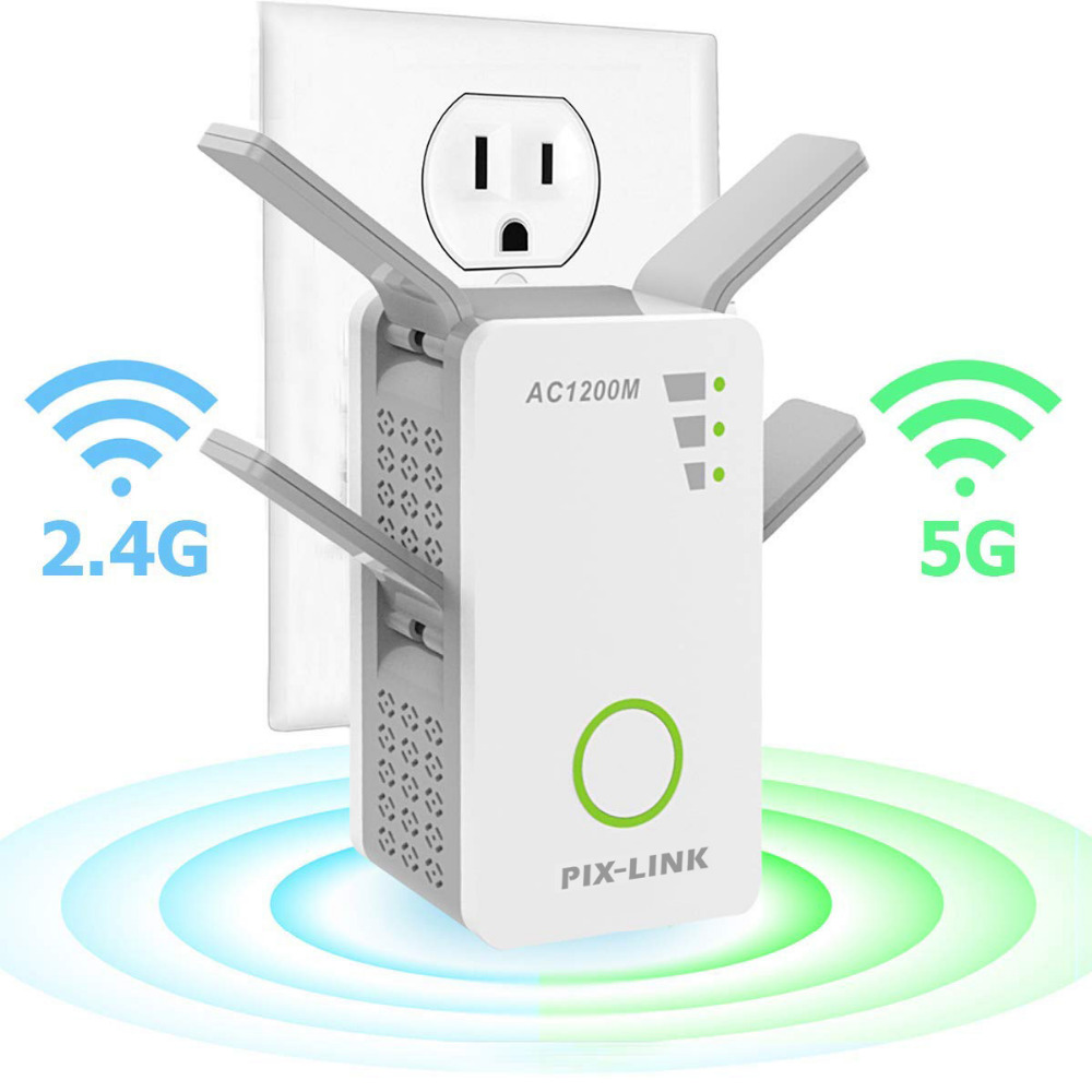 WiFi Range Extender Wireless Repeater 1200Mbps Wi-Fi Extender Internet Signal Booster with 4 External Antennas Full CoverageWiFi Range Extender Wireless Repeater 1200Mbps Wi-Fi Extender Internet Signal Booster with 4 External Antennas Full Coverage