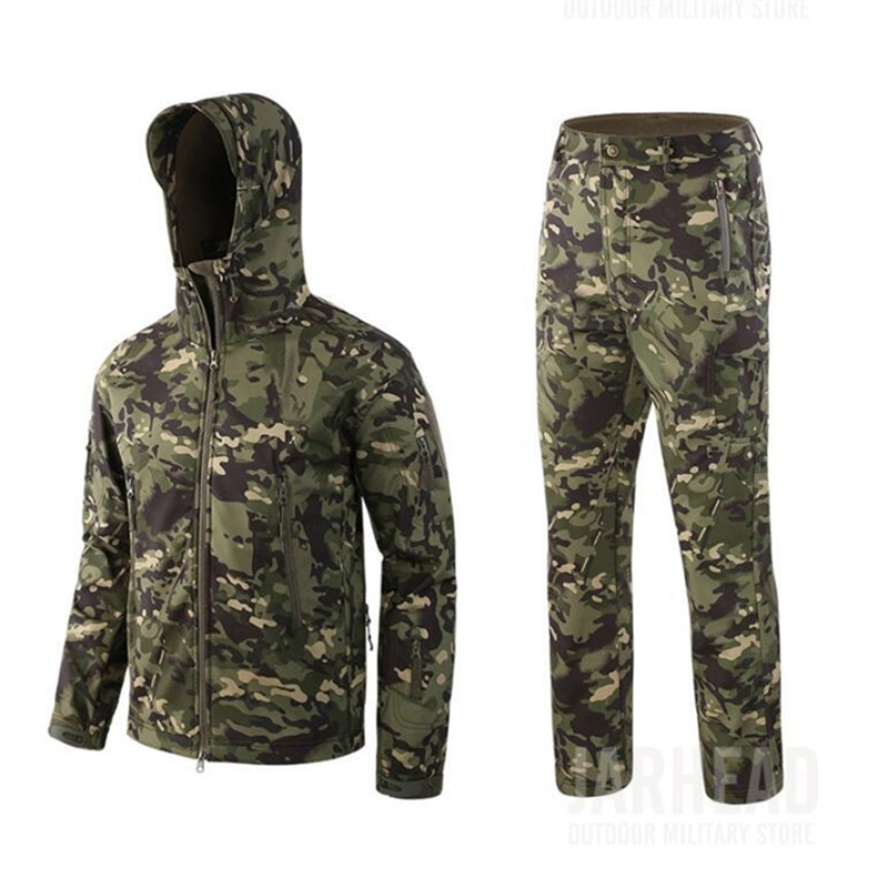 Hot Winter Men Tactical Waterproof Shark Skin Soft Shell Fleece Jacket Pants Suit Outdoor Camping Hunting Hiking Camouflage Sets