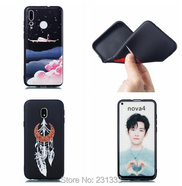 Half-wrapped Case Strict C-ku Astronauts Soft Tpu Case For Huawei Nova 4 3 Y5 2018 Y6 2019 Y7 Enjoy 9 7 Plus 7s Feather Dog Moon Skin Cover Fashion 1pcs