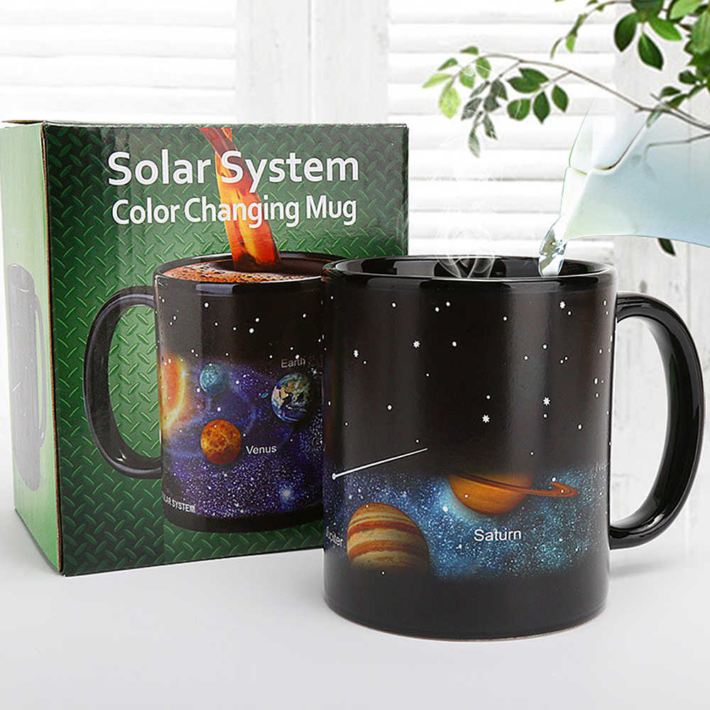 Creative Fashion Coffee Tea Milk Cup Mugs Ceramaic Temperature Sensor Color Changing Mug With Handle For Lover New Year Gifts