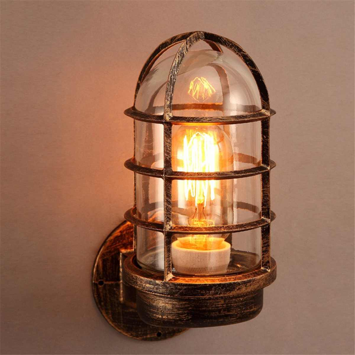timeless design ffe01 c4fc7 US $19.75 10% OFF|Industrial Unique Wall Light Wall Sconces Cage Guard  Sconce Loft Light Fixture Modern Indoor Lighting Wall Lamps Iron Copper-in  Wall ...