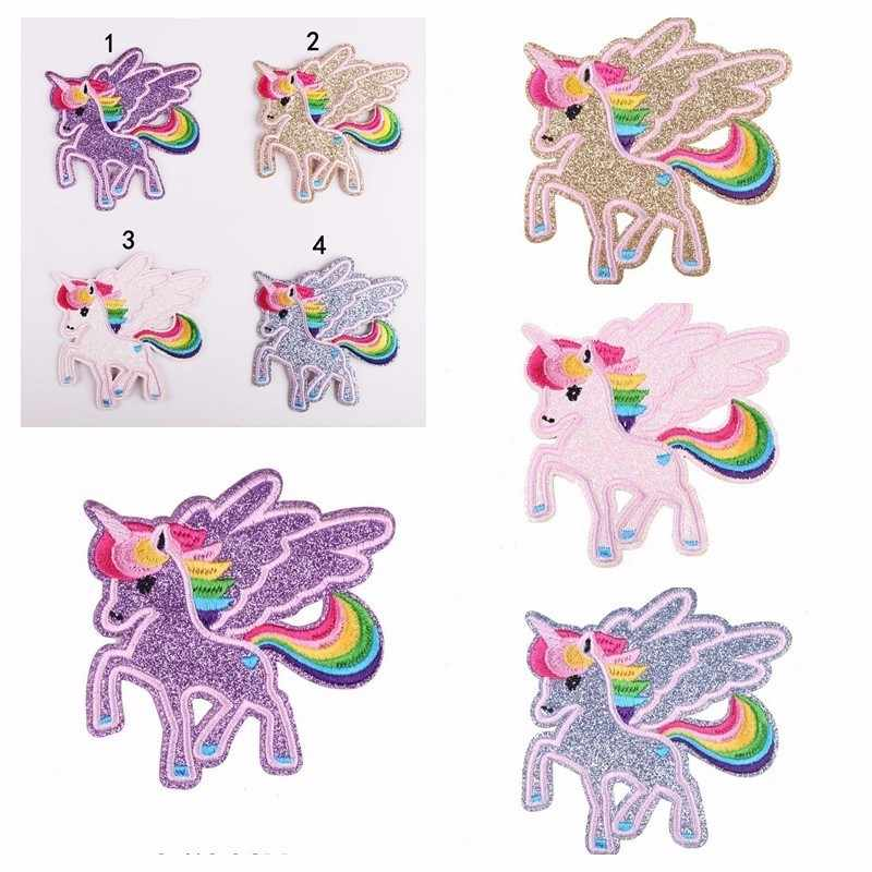 1PCS New High-quality Unicorn Twinkle animation Embroidery Patches for Clothing DIY Stripes Appliques children Clothes Stickers