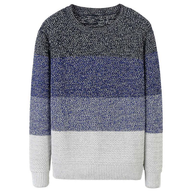 Jesień mężczyźni sweter bawełniane w paski niebieski szary Khaki kolor swetry człowiek dorywczo dopasowane ubrania 2019 odzież męska topy z dzianiny 606