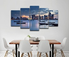 Canvas Painting Modern Wall Art City Building Pictures 5 Pieces Seaside Lake Boat Landscape Poster Home Decor Artwork
