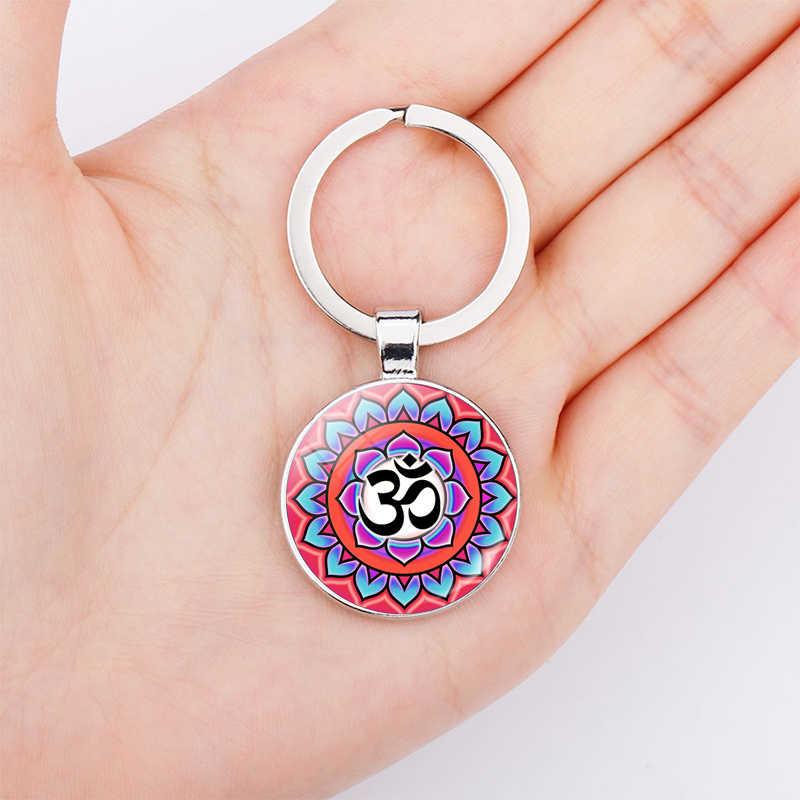 Om Yoga Phật Biểu Tượng Đôi Mặt Thép Không Gỉ Móc Chìa Khóa Glas Dome Keychain Phụ Nữ Người Đàn Ông Thời Trang Đồ Trang Sức Ấn Độ Túi Mặt Dây Chuyền
